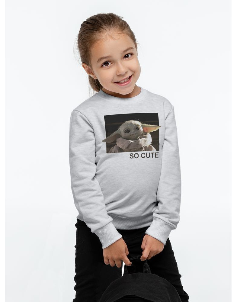 Свитшот детский Baby Yoda, серый
