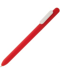 Ручка шариковая Slider Soft Touch, красная с белым