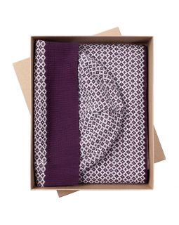 Набор Crown: шарф и шапка, баклажаново-белый