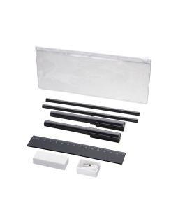 Набор Mindy: ручки шариковые, карандаши, линейка, точилка, ластик, черный