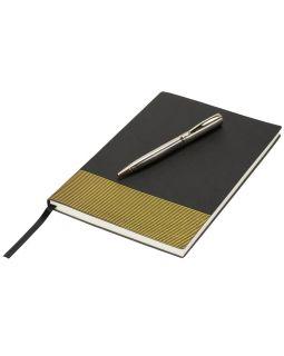Блокнот А5 Gold lines, черный/золотистый