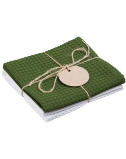 Набор кухонных полотенец Good Wipe, белый с зеленым