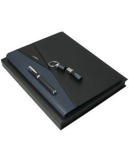 Набор Lapo: папка с блокнотом А4, роллер и флешка 16 Гб, черный