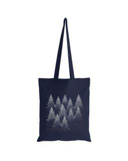 Холщовая сумка Silver Christmas, темно-синяя