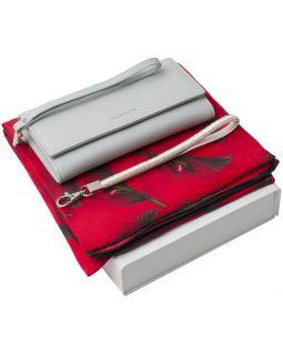 Набор Cacharel: кошелек и платок, голубой с красным