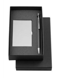 Набор Join: футляр для визиток и шариковая ручка, черный