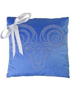 Подушка «Знак зодиака Овен», синяя