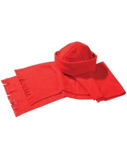 Комплект Unit Fleecy: шарф и шапка, красный