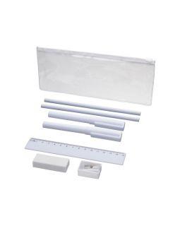 Набор Mindy: ручки шариковые, карандаши, линейка, точилка, ластик, белый