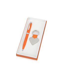 Подарочный набор Сердце: ручка шариковая, брелок, оранжевый