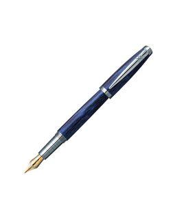 Ручка перьевая Pierre Cardin MAJESTIC с колпачком на резьбе, синий/черный/серебро