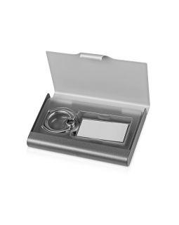Набор Slip: визитница, держатель для телефона, серый/серебристый