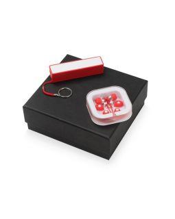 Подарочный набор Non-stop music с наушниками и зарядным устройством, красный
