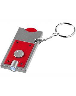 Брелок-держатель для монет Allegro с фонариком, красный/серебристый