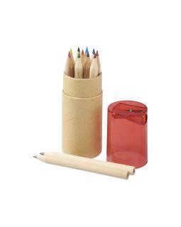 Набор карандашей 12 единиц, натуральный/красный