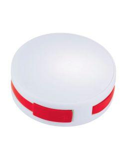 USB Hub Round, на 4 порта, белый/красный