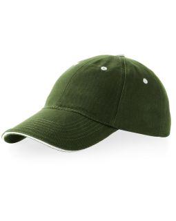 Бейсболка Brent типа сэндвич, 6 панелей, зеленый армейский/белый