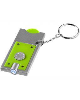Брелок-держатель для монет Allegro с фонариком, лайм/серебристый