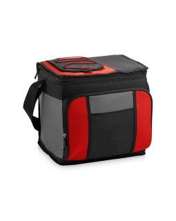 Сумка-холодильник на 24 банки с удобным карманом, красный/черный/серый