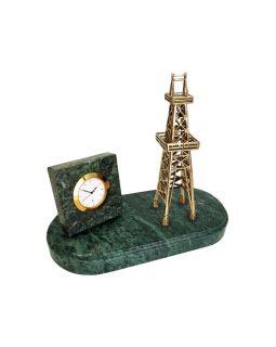 Настольный прибор Нефтяная вышка, золотистый/зеленый