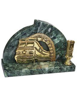Настольный прибор Поезд, золотистый/зеленый